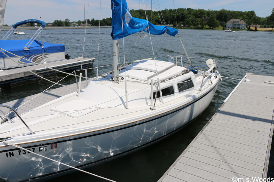 A Sailboat Docked in the Geist Marina