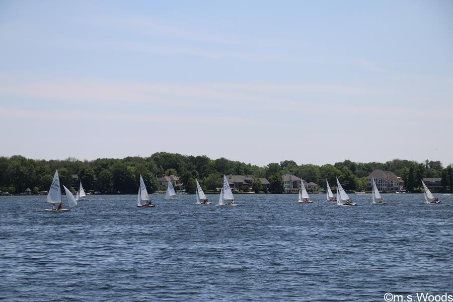Sailboats on Geist Lake in Fishers