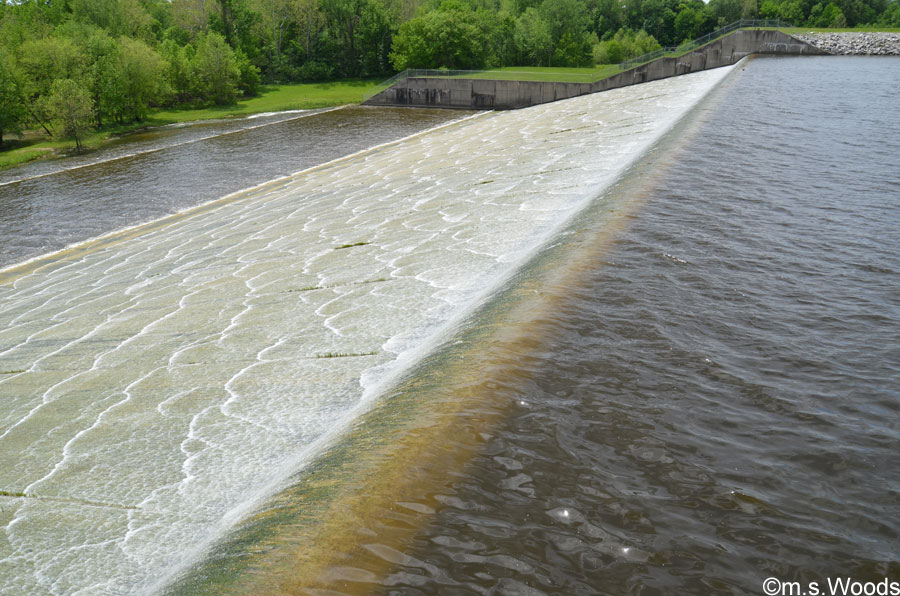Water Runs over Dam at Morse Reservoir