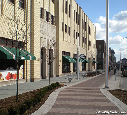 Photo of the Indianapolis Cultural Trail on Mass Ave that connects all five Indianapolis cultural districts