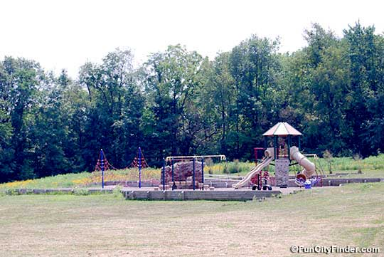 Faraway shot of the playground at Southwestway Park