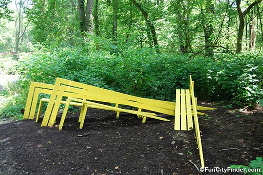 Another view of the funky bench in the 100 Acres
