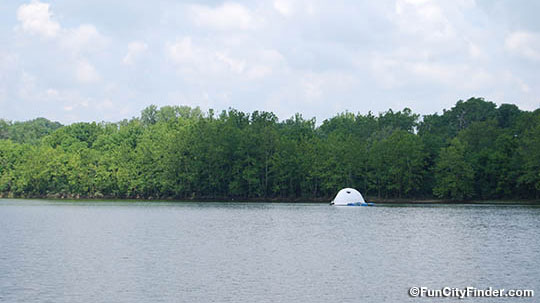Igloo in the lake at the 100 Acres Art and Nature Park