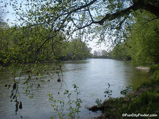Photo of the tree lined White River in Hazel Landing Park in Carmel, Indiana