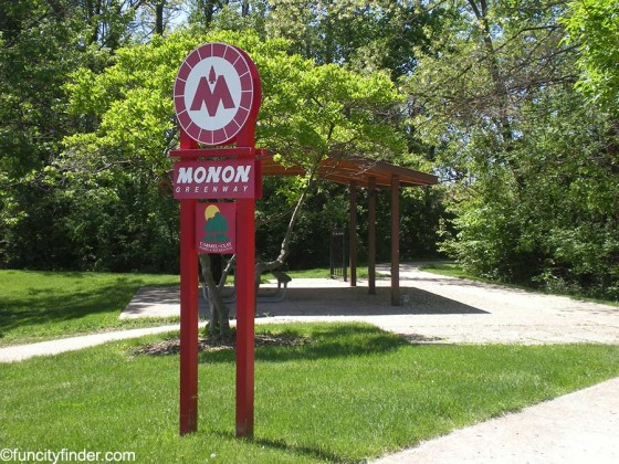 monon-trail-sign-and-shelter-carmel-indiana