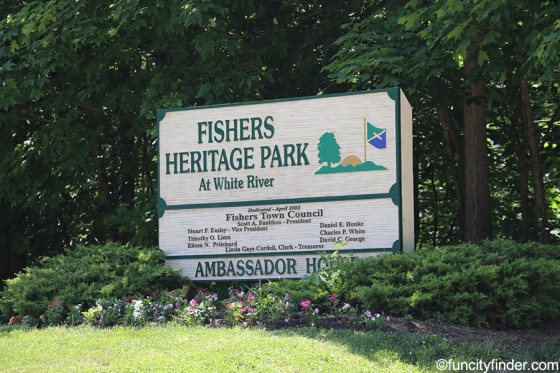 sign-at-entrance-of-fishers-heritage-park-at-white-river