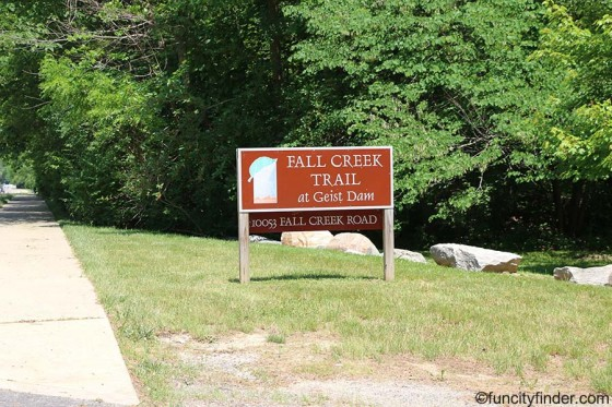 sign-at-fall-creek-trail-at-geist-dam