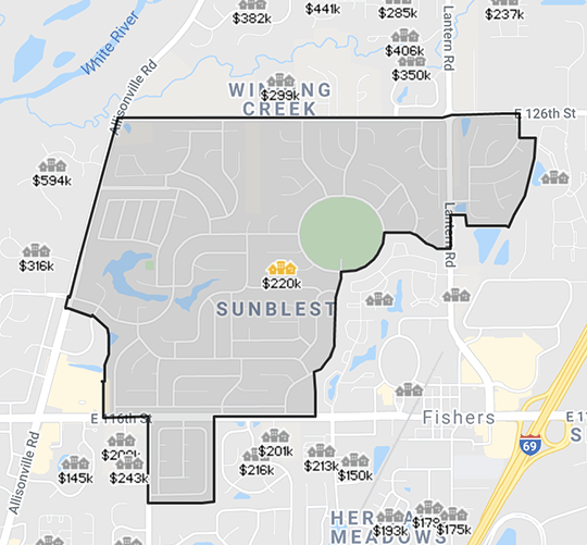Map of Sunblest Farms subdivision